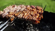 BQ. Grilled meat ready for eating. Closeup Stock Footage