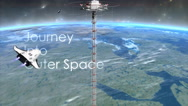 Space elevator with text overlay. Stock Footage