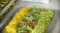 Delicious salads and dishes at the buffet Stock Footage