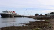 Foot passengers disembarking Calmac ferry Brodick, Arran, Scotland Stock Footage