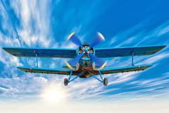 Biplane with airscrew Stock Photos