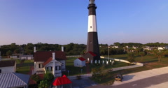 Tybee Island Light Station Aerial Stock Footage