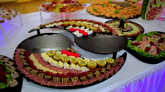 Buffet: salads, meat and fish dishes are on the table Stock Footage