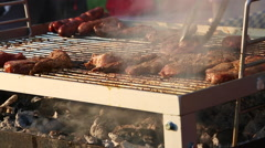Barbecue grill with evening light Stock Footage