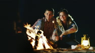The company of friends relaxing around the campfire, roast marshmallows on Stock Footage