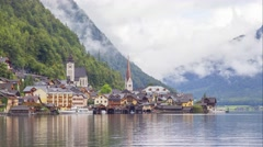Time-lapse video of Hallstatt village in Austrian Alps Stock Footage