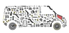 Images bus from new spare parts Stock Illustration
