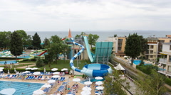 Editorial: Nessebar, Bulgaria  Hotel Sol Nessebar adults and young hotel Stock Footage
