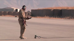 The U.S. Army uses drone aircraft in Afghanistan. Stock Footage