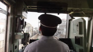POV through the Train Drivers cabin Stock Footage