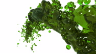 Oil. Abstract green flow of fluid on white background. Stock Footage