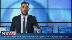 Male News Presenter in Broadcasting Studio Stock Footage