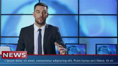 Male News Presenter in Broadcasting Studio Stock Footage