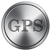 GPS icon. Internet button on white background. Metallic round icon.. Stock Illustration