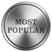 Most popular icon. Internet button on white background. Metallic round icon.. Stock Illustration