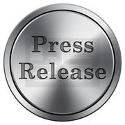 Press release icon. Internet button on white background. Metallic round icon. Stock Illustration