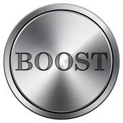 Boost icon. Internet button on white background. Metallic round icon.. Stock Illustration