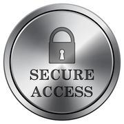 Secure access icon. Internet button on white background. Metallic round icon. Stock Illustration