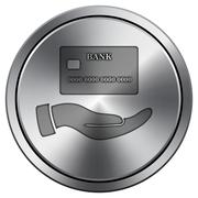 Hand holding credit card icon. Internet button on white background. Metallic  Stock Illustration