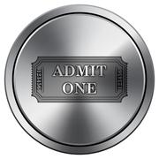 Admin one ticket icon. Internet button on white background. Metallic round ic Stock Illustration