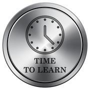 Time to learn icon. Internet button on white background. Metallic round icon. Stock Illustration