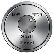 Skill level icon. Internet button on white background. Metallic round icon.. Stock Illustration