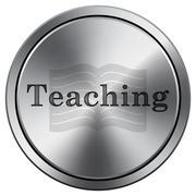 Teaching icon. Internet button on white background. Metallic round icon.. Stock Illustration