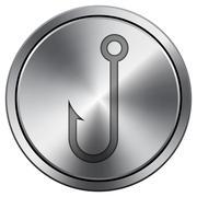 Fish hook icon. Internet button on white background. Metallic round icon.. Stock Illustration