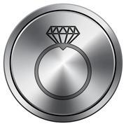 Diamond ring icon. Internet button on white background. Metallic round icon.. Stock Illustration