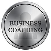 Business coaching icon. Internet button on white background. Metallic round i Stock Illustration
