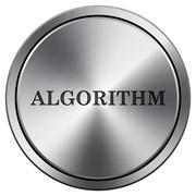 Algorithm icon. Internet button on white background. Metallic round icon.. Stock Illustration
