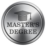 Master's degree icon. Internet button on white background. Metallic round ico Stock Illustration