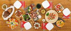 Healthy meals at festive table served for dinner party Kuvituskuvat