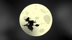 Happy Halloween loop animation, moon, witch, hag 4K Stock Footage