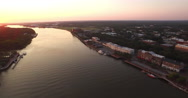 High View of Downtown Savannah at Sunrise Stock Footage