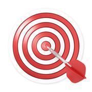 Dart hitting a target, 3D Stock Illustration