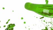 Oil. big splashes. green liquid Stock Footage