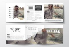 Set of tri-fold brochures, square design templates. Polygonal background Stock Illustration