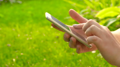The girl writes sms. Close-up. 4 К Stock Footage