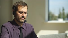 A man working in call center Stock Footage