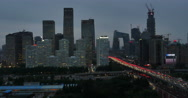 4k,timelapse,heavy traffic through BeiJing central business district at night. Stock Footage