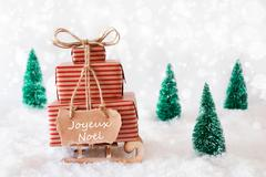 Sleigh On Snow, Joyeux Noel Means Merry Christmas Stock Photos