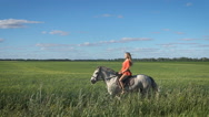 Beautiful blonde girl in the red shirt riding a horse at countryside Stock Footage