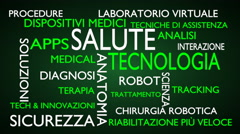 Health technology word tag cloud - green, Italian variant Stock Footage