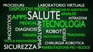 Health technology word tag cloud - green, Italian variant Stock Footage