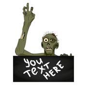 Zombie isolated with banner for you text. Vector illustration Stock Illustration