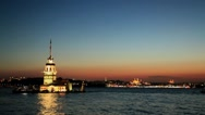 View Of Istanbul Maiden's Tower In Turkey Stock Footage