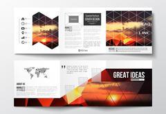 Set of tri-fold brochures, square design templates. Colorful polygonal backdrop Stock Illustration
