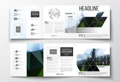Vector set of tri-fold brochures, square design templates. Colorful polygonal Stock Illustration
