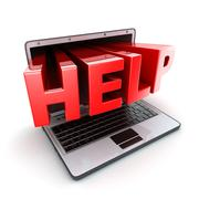 Laptop help symbol (done in 3d, isolated) Stock Illustration